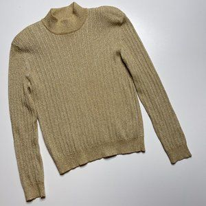 Metallic Gold Ribbed Sweater Mock Neck Banded L